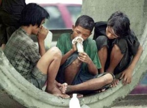 Street children who snort glue