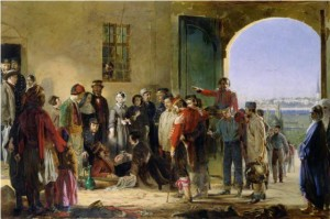 Nightingale who welcomes wounded people at Scutari